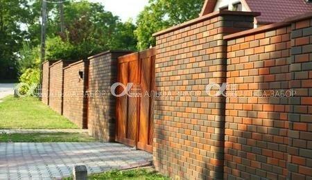 Забор из клинкерного кирпича недорого